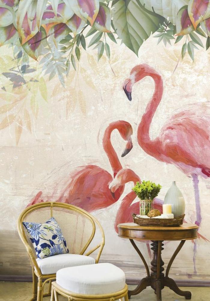 déco-tropicale-papier-peint-mural-flamant-rose