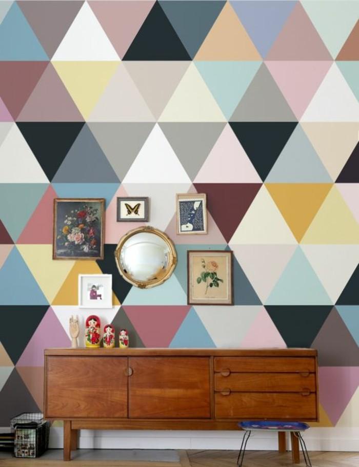 déco-vintage-enfilade-scandinave-papier-peint-géométrique-coloré-