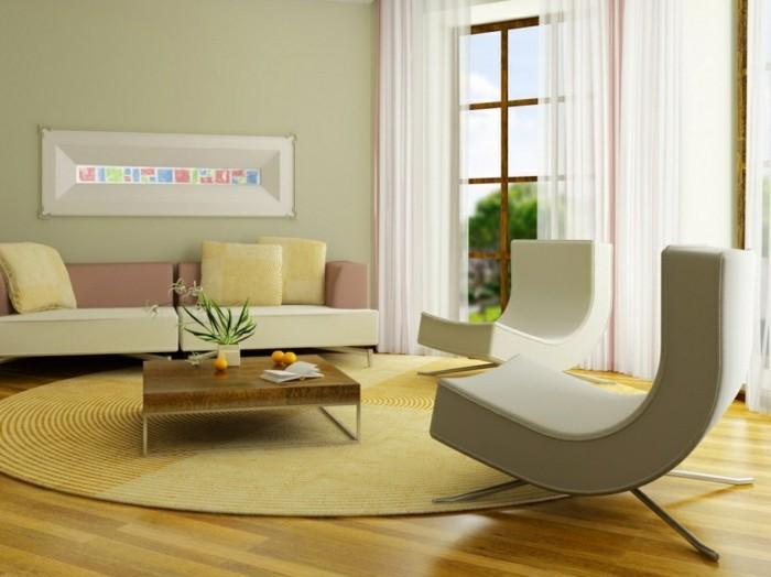 feng shui facile, tapis jaune, canapé couleur pastel, mur vert claire, rideaux blancs