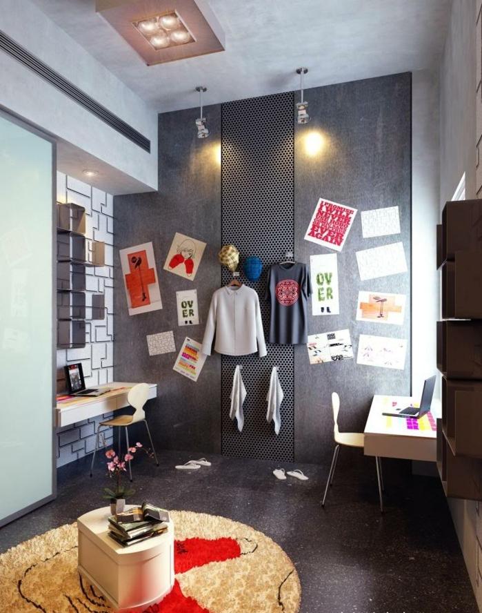 espace-bureau-papier-peint-effet-3d-chambre-d'ado-garçon