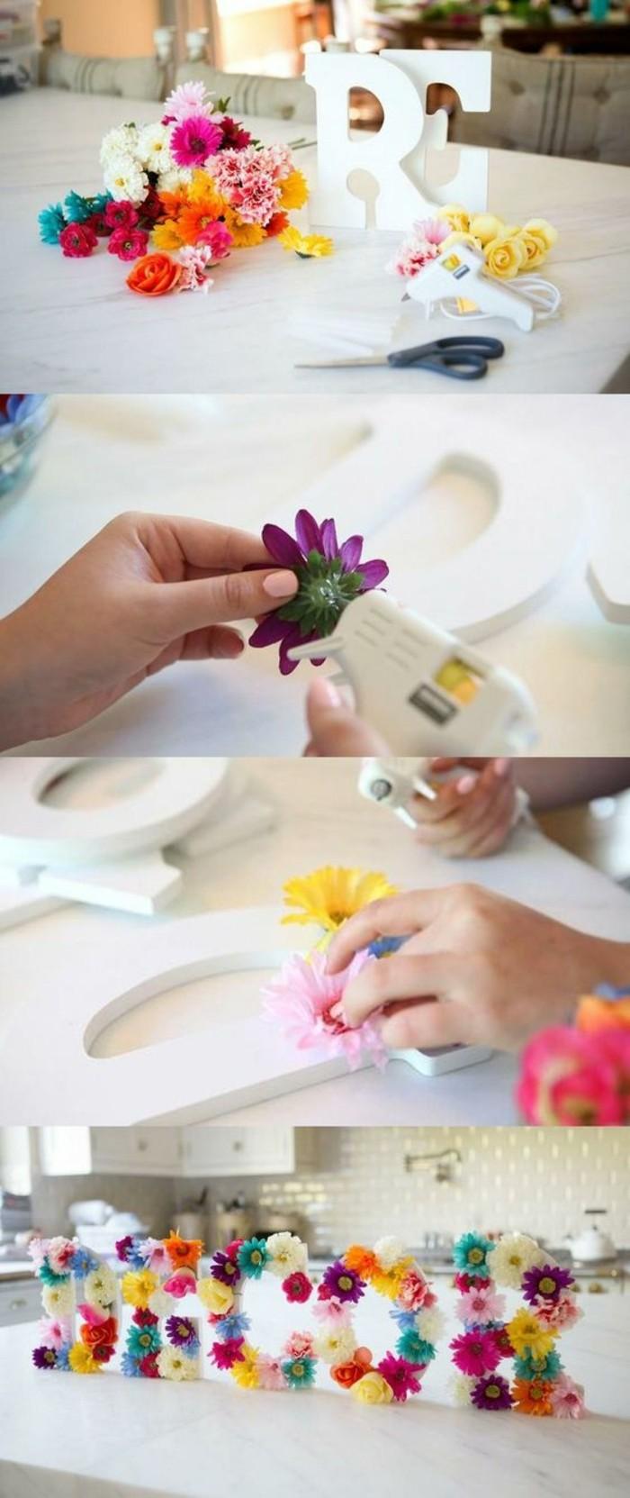deco-florale-grandes-lettres-fleuries-pour-decorer-sa-cuisine-idée-activité-créative-de-printemps-à-réaliser-soi-meme