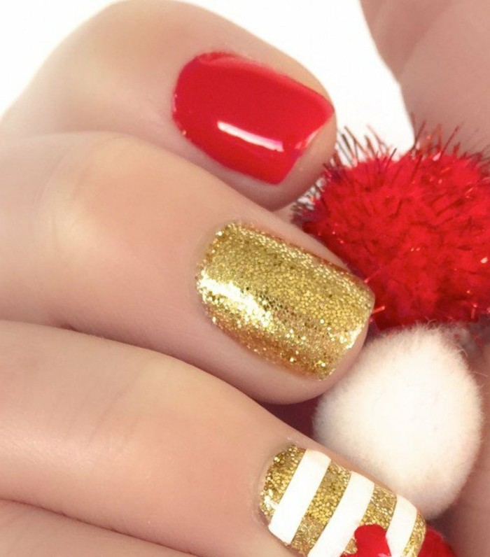 deco-ongle-gel-manucure-rouge-or-lignes-blanches-coeur-brillance