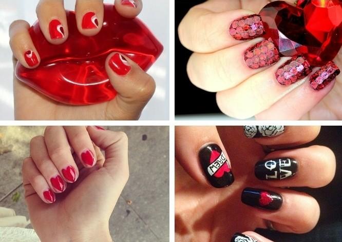 deco-ongle-quatre-idées-manucure-saint-valentin-coeurs-fleurs-vernis-rouge