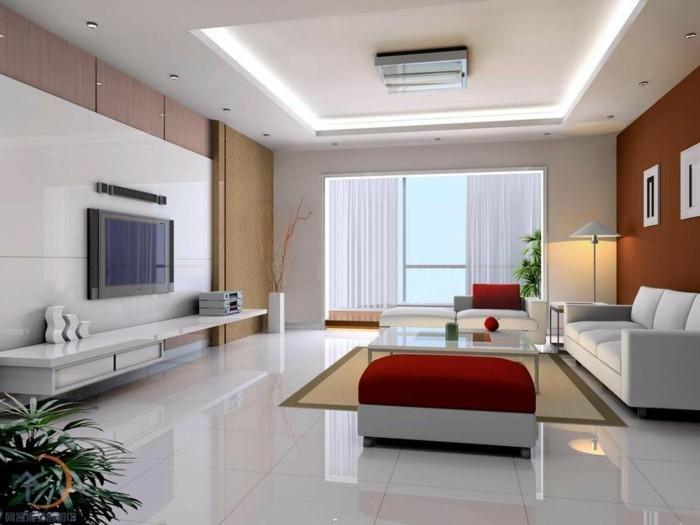 maison feng shui, plafond blanc, mur foncé, grande fenêtre, tapis beige, plante verte