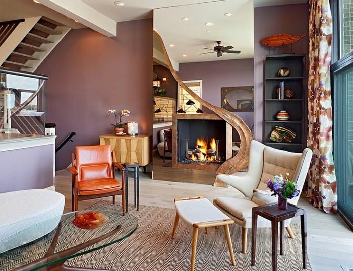 decoration zen, grand miroir, cheminée noire, fauteuil orange, table en verre