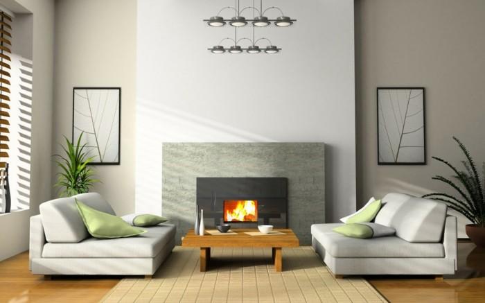 maison feng shui, murs blancs, sol en bois, grande fenêtre, table basse en bois