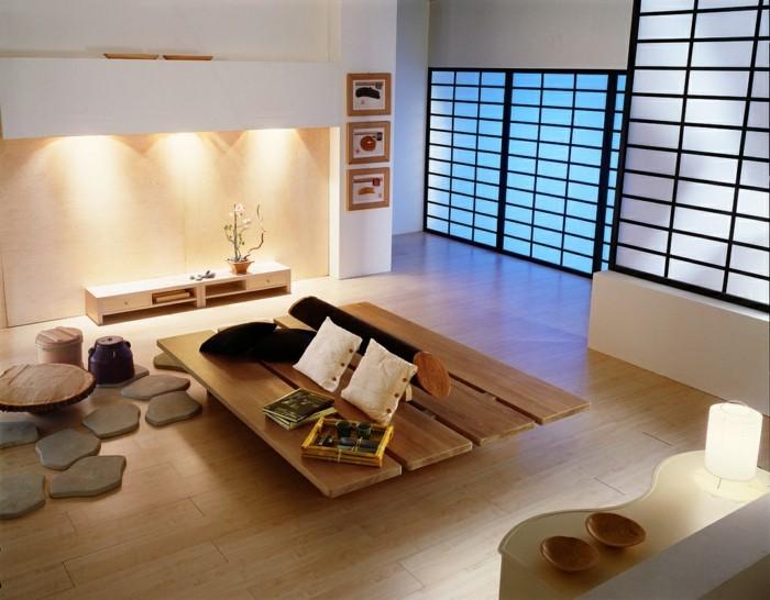 feng shui couleurs, murs blancs, éclairage, peinture à cadres en bois