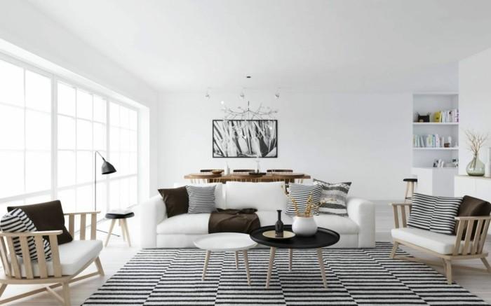 feng shui facile, plafond blanc, parquet en bois claire, peinture blanc et noir, table en bois