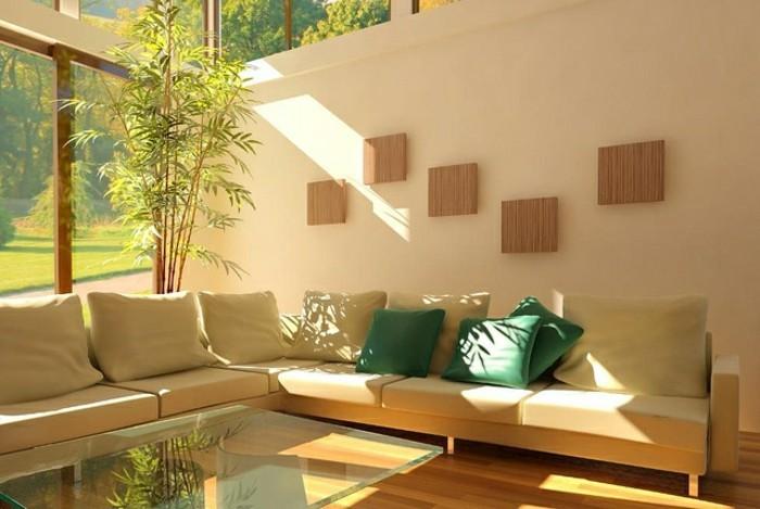 salon feng shui, plantes vertes, grandes fenêtres, lumière naturelle, table en verre