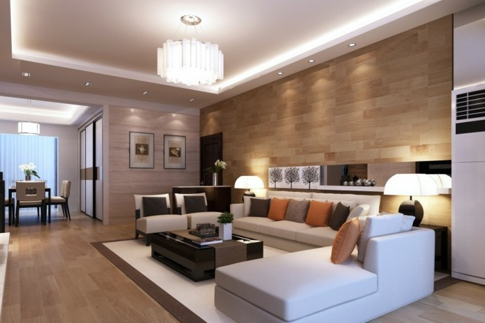 salon feng shui, parquet en bois clair, plafond suspendu, table basse noire, canapé blanc