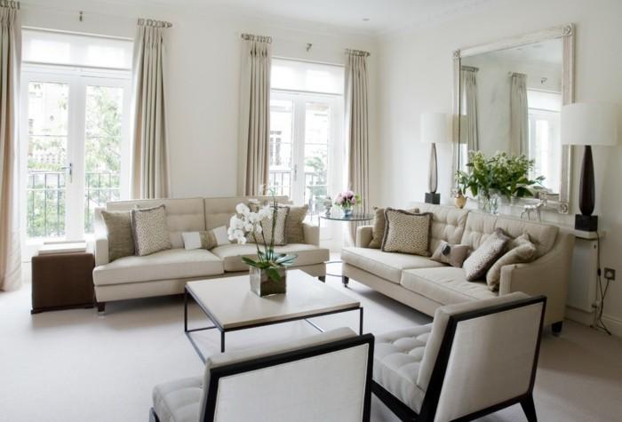 maison feng shui, tapis blancs, murs claires, meuble taupe, orchidée blanche, grandes fenêtres