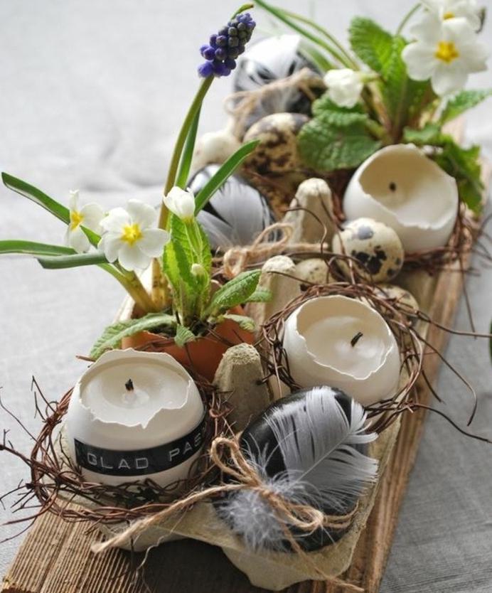 decoration-centre-de-table-de-paques-activité-manuelle-paques-coquilles-d-oeufs-bougeoirs-fleurs-de-printemps-activité-manuelle-printemps