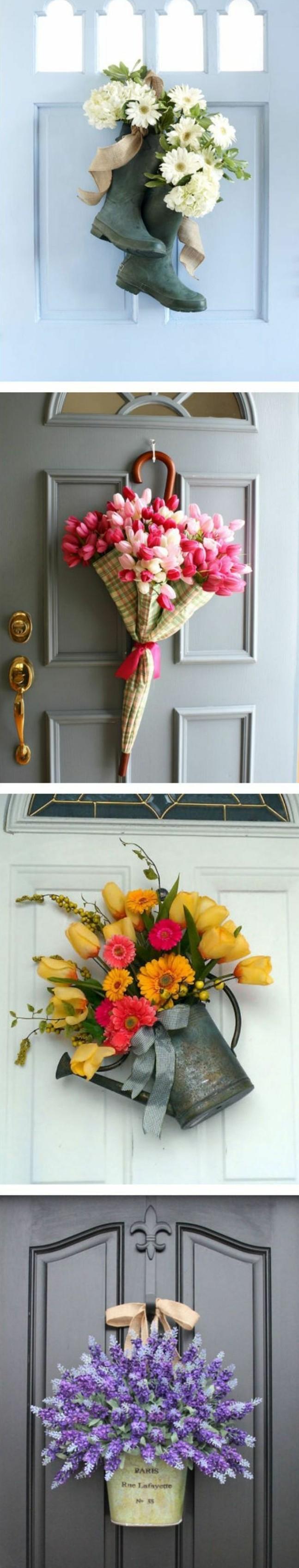 decoration-florale-porte-entrée-maison-idée-ctivité-créative-printemps-bouquets-de-fleurs-dans-des-bottes-parapluie-fleurie-et-arroisoir-pleine-de-fleurs-bricolage-adulte