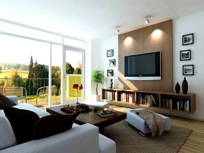 feng shui maison, grande fenêtre, lumière naturelle, plafond blanc, table basse