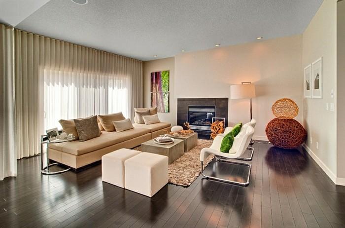 feng shui facile, parquet en bois foncé, plafond blanc, tapis beige, peinture nature