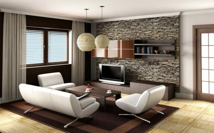 maison feng shui, mur marron foncé, mur en brique, tapis marron, canapé blanc