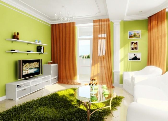 aménager son salon, murs verts, plafond blanc, tapis fausse fourrure, rideaux longs