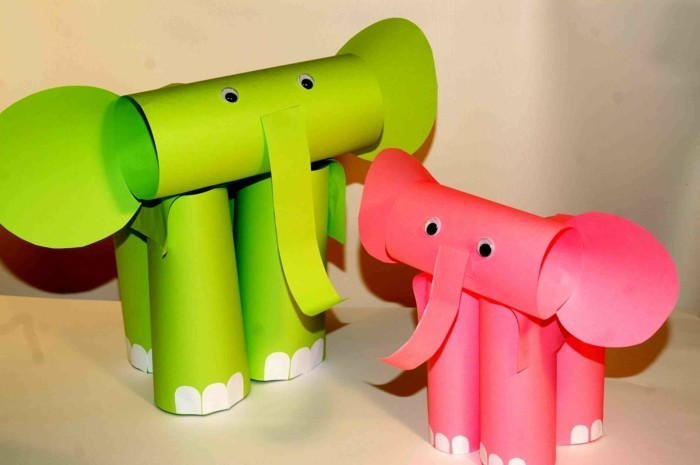 des éléphants vert et rose, idée activité créative à réalier soie meme, enfant maternelle, rouleaux de papier toilette, papier