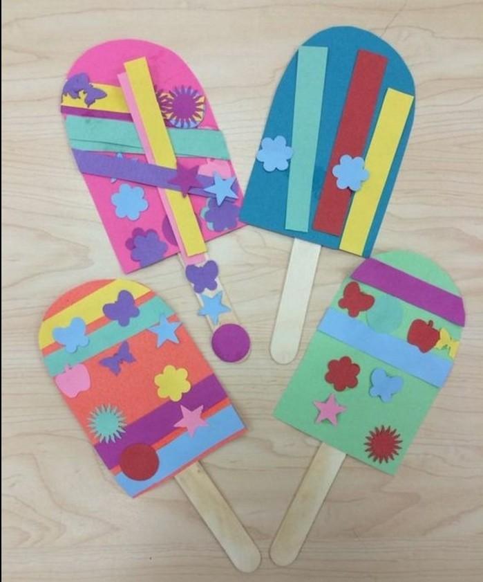 des glaces en papier, customisées avec des bandes de papier et motifs multicolores, batonnets de glace, bricolage enfant été, activité créative maternelle