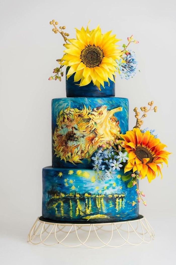 fleurs tournesols frais pour décorer un gateau nuit étoilé et tournesols de van gogh, idee deco gateau creative et artistique