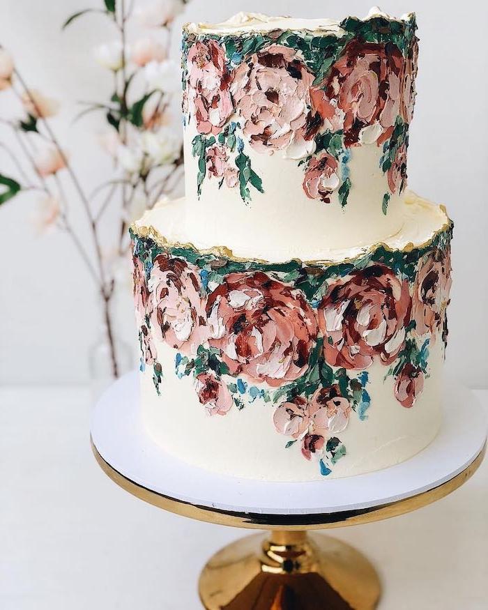 gateau idee belle de gateau blanc décoré de fleurs en creme au beurre abstraites, dessin abstrait sur gateau