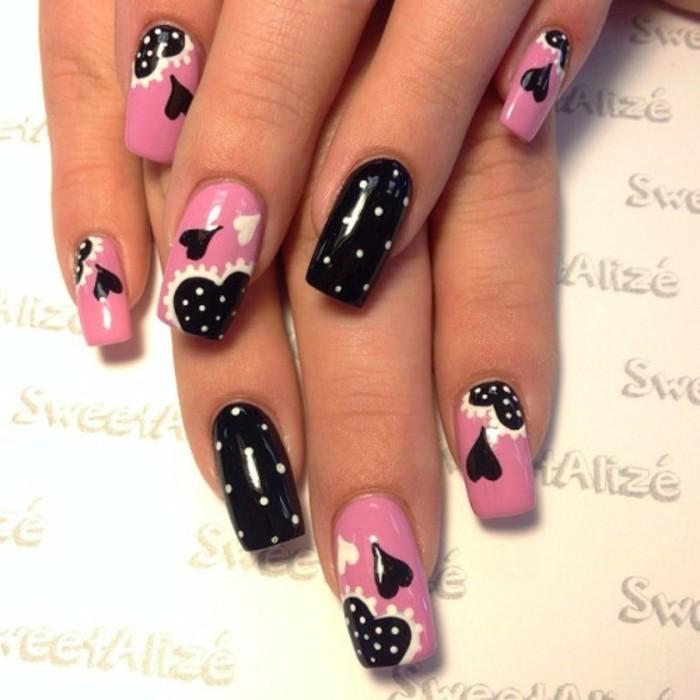 dessin-sur-ongle-manucure-noire-et-rose-coeurs-points-blancs