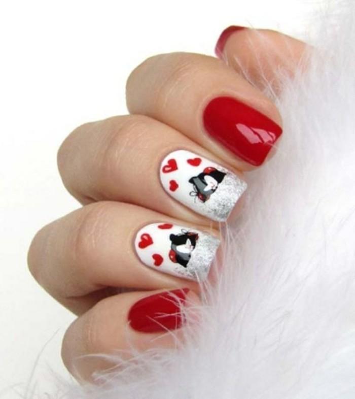 dessin-sur-ongle-manucure-rouge-et-blanche-deco-chat-noir-coeurs