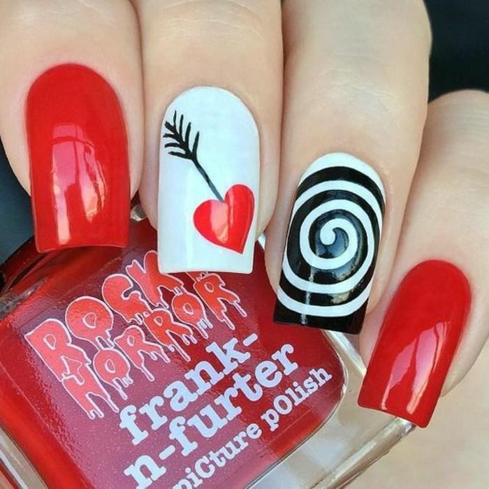dessin-sur-ongle-vernis-rouge-spirale-noir-coeur-et-fleche