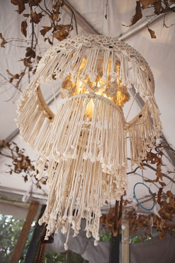 noeud macramé, chandelier à franges, diy macramé, décoration style bohème