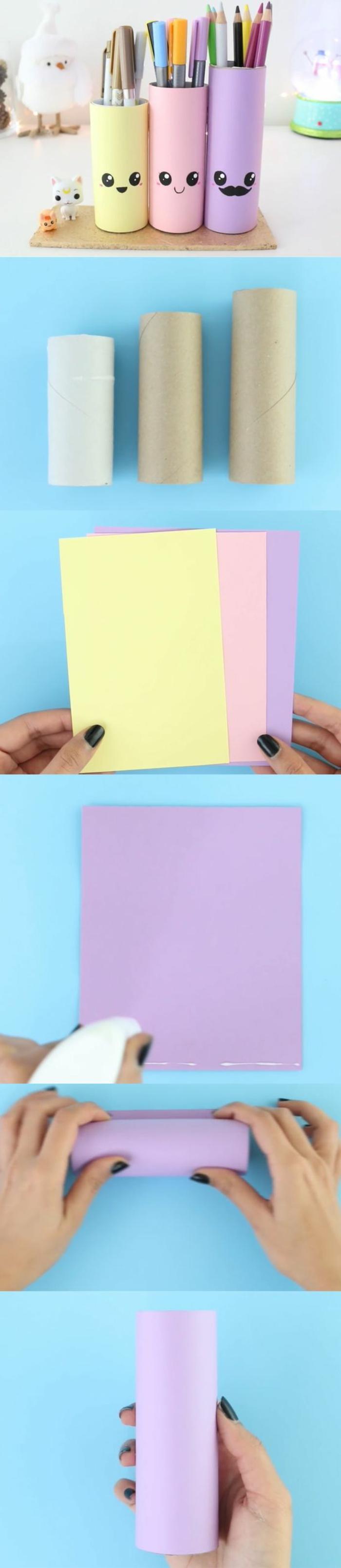 diy-rouleau-papier-toilette-idée-comment-faire-un-pot-a-crayon-à-partir-de-rouleaux-de-papier-toilette-recyclées-envelopper-les-rouleaux-de-papier-coloré-à-motifs-visage