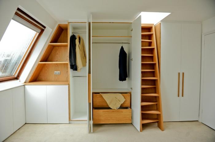 dressing sous pente, placards, tiroirs, penderie, meuble en bois, rangement astucieux pour optimiser l'espace