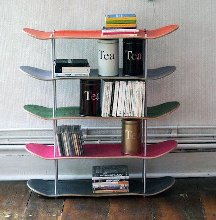 étagère skateboard idee deco skate fabriquer bibliotheque planches