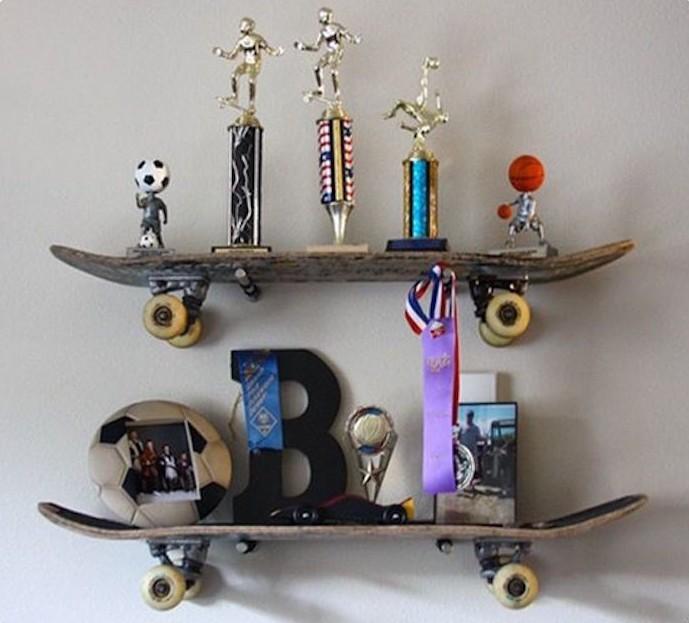 étagère skateboard planche à roulettes mur idee deco
