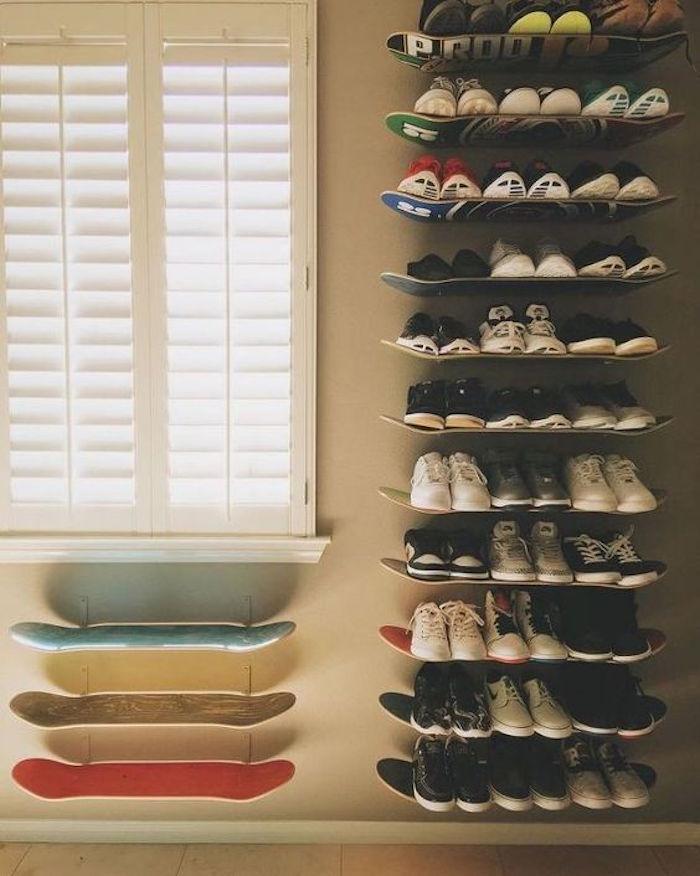 étagères chaussures planche idee deco skateboard
