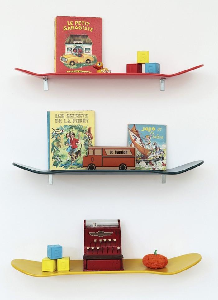 étagères murales étagère skateboard enfant planche skate idee deco