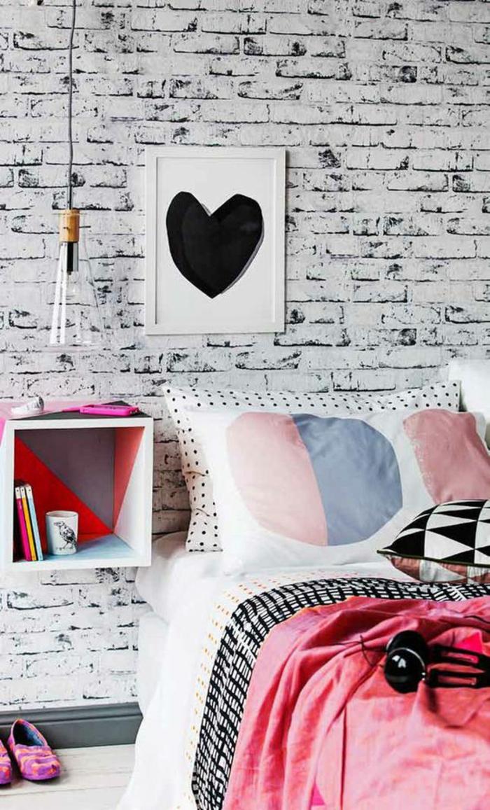 décoration-chambre-ado-fille-moderne-papier-peint-faux-mur-en-briques