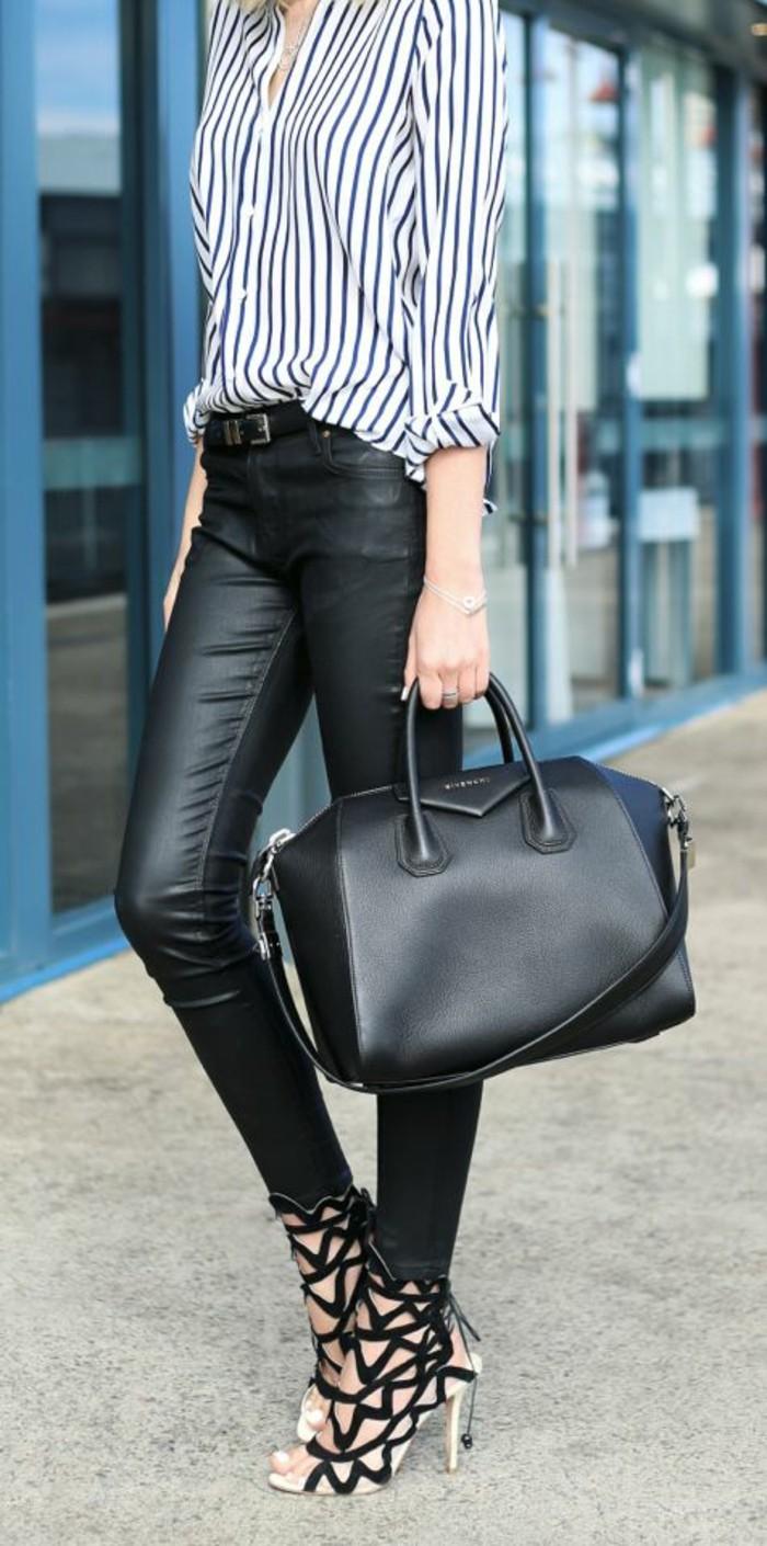escarpins-glamour-chemise-rayée-slim-cuir