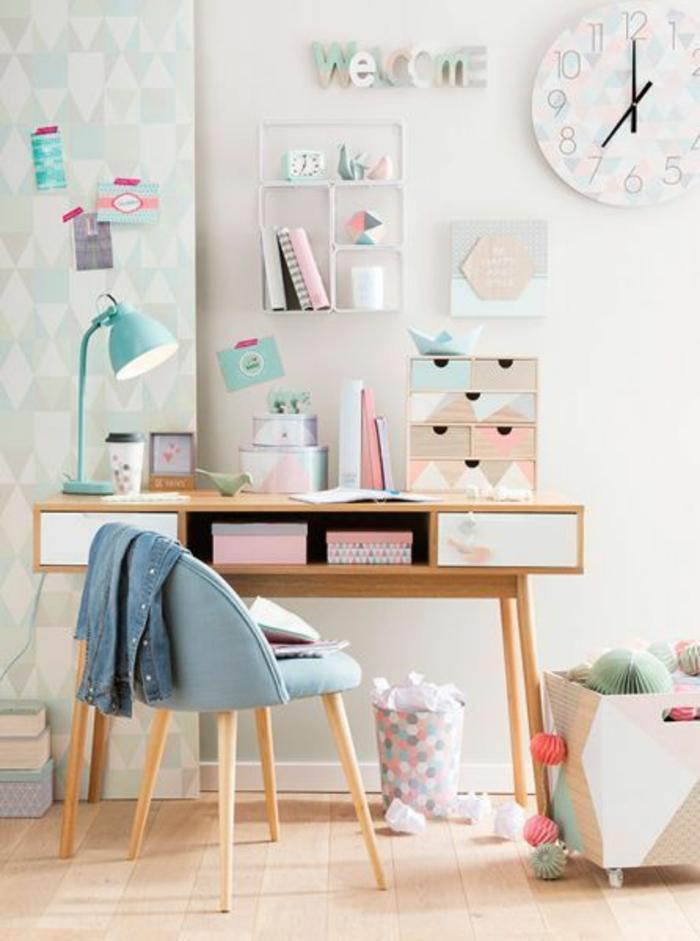 espace-bureau-couleurs-pastel-déco-chambre-ado-fille-bureau-vintage