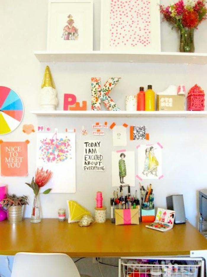 espace-bureau-créatif-bureau-vintaget-déco-chambre-ado-fille