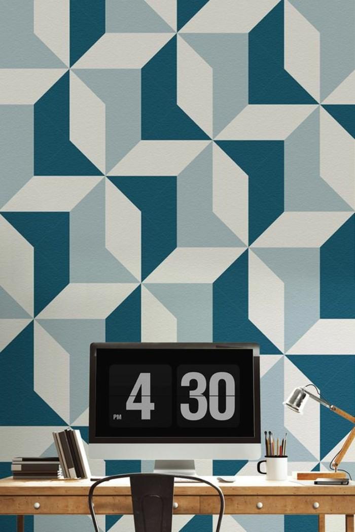espace-bureau-papier-peint-géométrique-effet-3d-