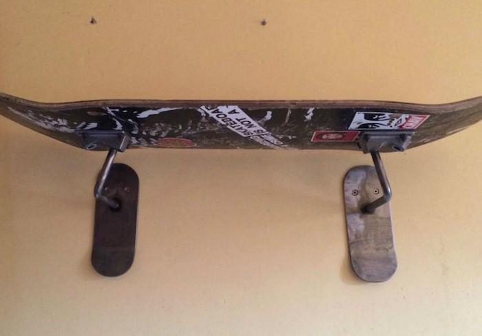 etagere diy recycler planche skateboard étagères mur