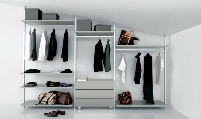 exemple de dressing sous pente, un meuble modulable, penderie ouverte, étagères et tiroirs, idée organisation vêtements