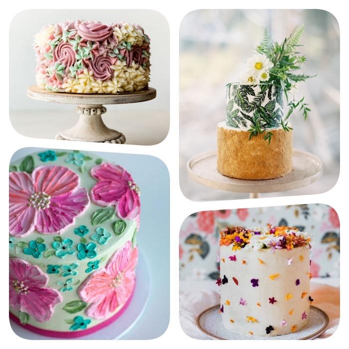 idée de gateau fleuri et décoré de fleurs de creme au beurre coloré, fleurs comestibles et feuillages