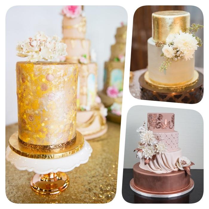 modele gateau de mariage métallisé, plusieurs idees de gateau en couleur or et cuivre