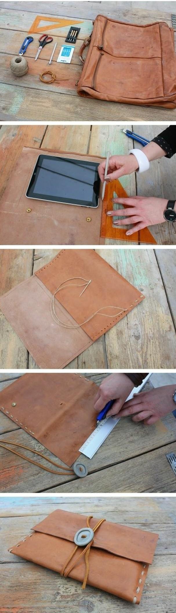 exemple-tuto-pochette-ipad-en-cuir-a-faire-soi-meme-étapes-de-la-fabrication-d-une-pochette-fermeture-avec-un-grand-bouton-gris-style-amérindien