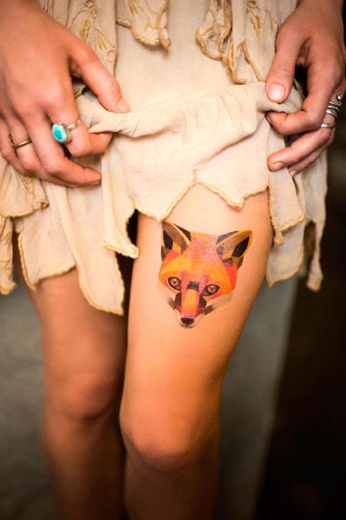 exemples tatouages temporaires tattoos ephemeres femme cuisse renard couleurs