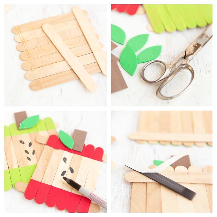 activité manuelle maternelle, bricolage maternelle simple avec batonents de glace repeints motif pomme cadre photo original