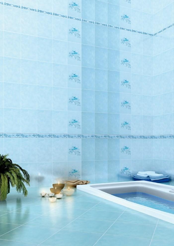 faience-salle-de-bain-bougies-plantes-vertes-carrelage-turquoise-serviettes