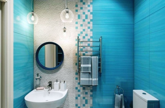 Accessoires de salle de bain bleu turquoise for Faience grise salle de bain
