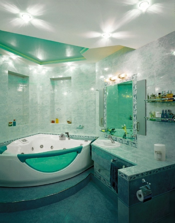 Salle de bain turquoise photo pictures to pin on pinterest - Faience salle de bain turquoise ...